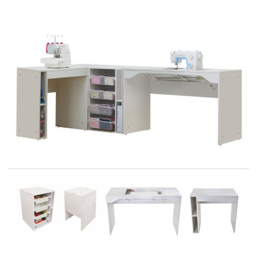 Elements by TailorMade - Sewing Machine Cabinet Trio + Overlocker Table