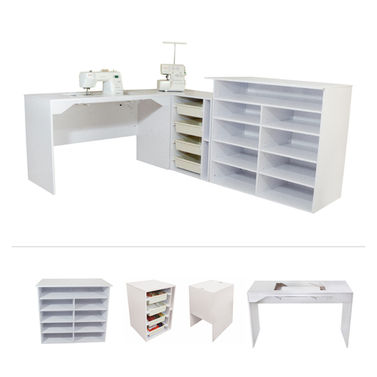 Elements by TailorMade - Sewing Machine Cabinet Trio + Cutting Table