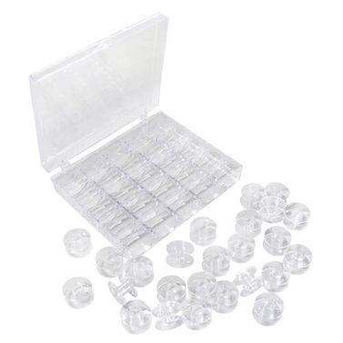 25 Empty Plastic Bobbins + Storage Box